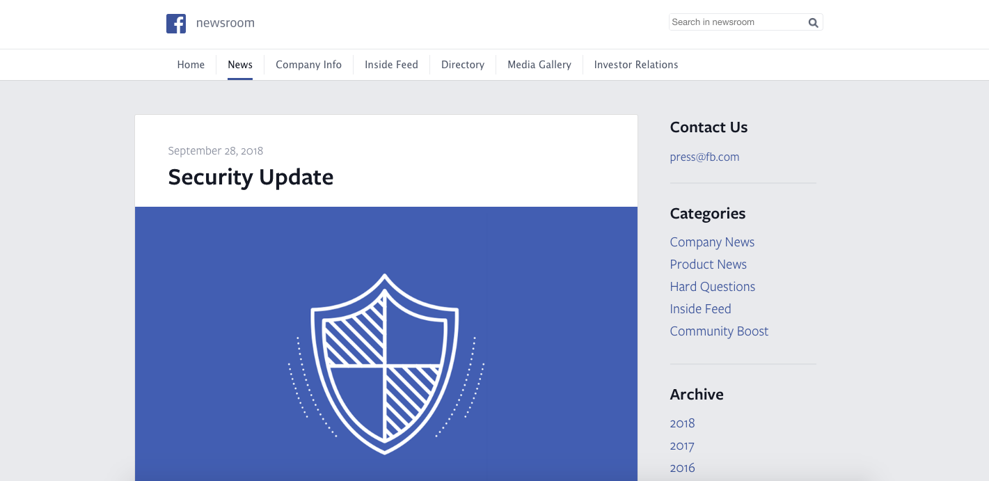 Facebook Newsroom Security Update