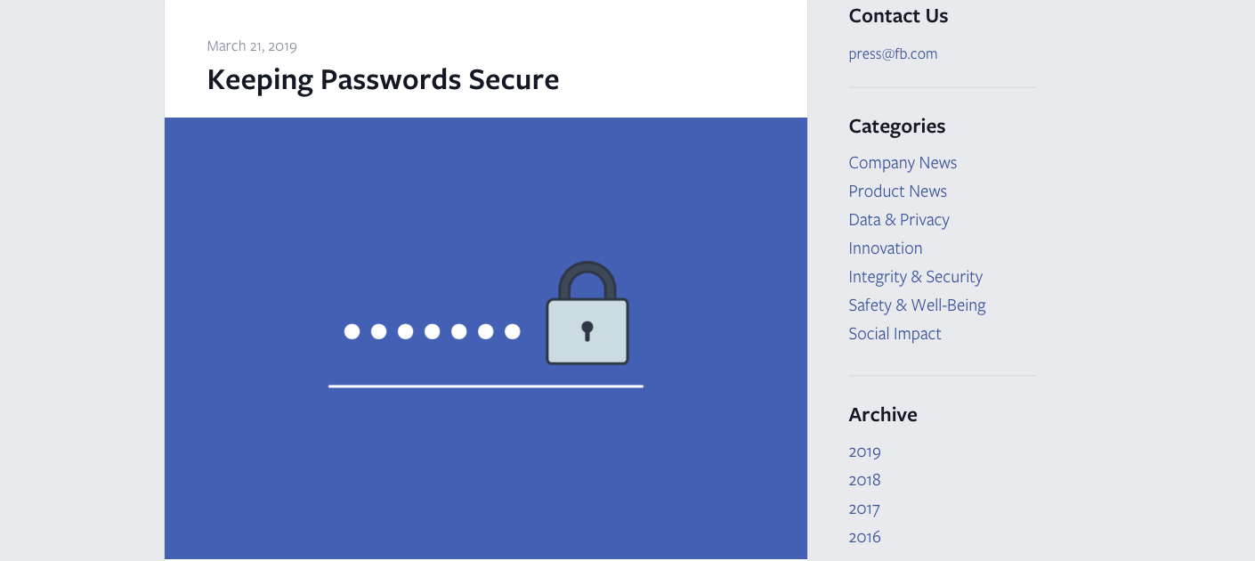 Facebook Is Not Keeping Your Password Secure