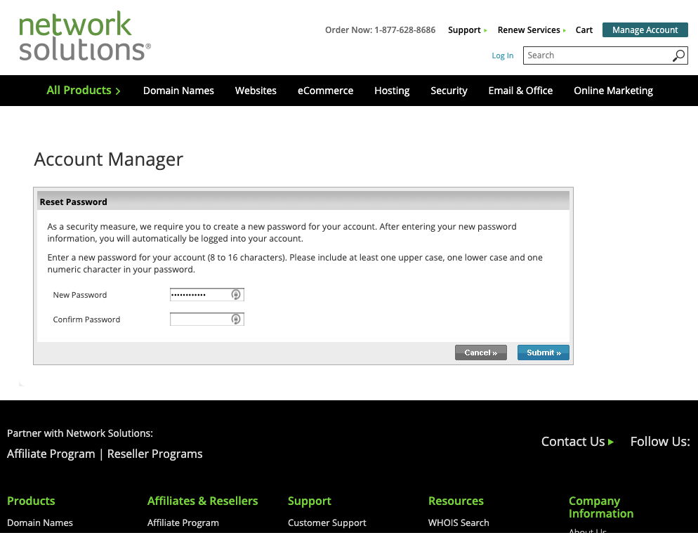 Screenshot from networksolutions.com requesting that users change their password.