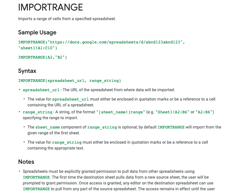 Image: Snippet from Help Article - IMPORTRANGE Imports a range of cells from a specified spreadsheet.